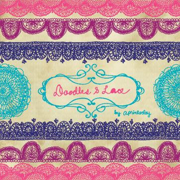 Doodles & Lace Brush Stamp Photoshop