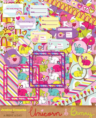 Unicorn & Bunny Digital Kit
