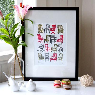 Bespoke Letterpress Chair Prints