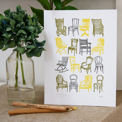 Bespoke Letterpress Chair Prints