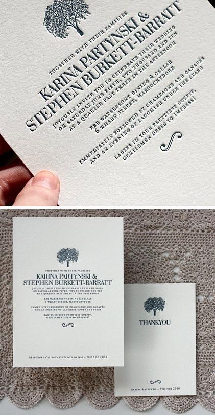 Bespoke Press Letterpress Wedding Invitations