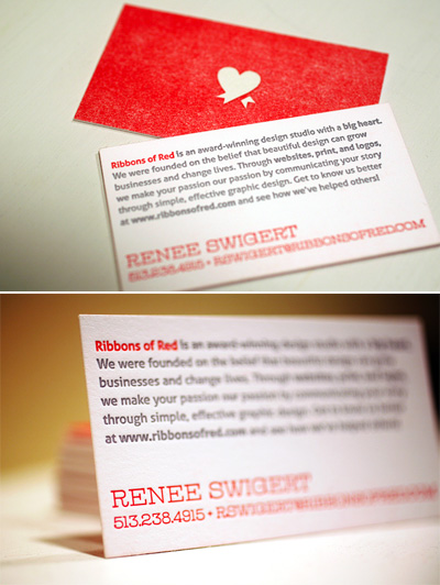 Ribbons of Red Business Cards
