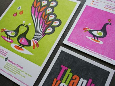 Bold Peacock Letterpress Invitations