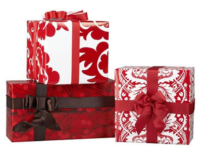 Crate and Barrel Gift Wrap Red