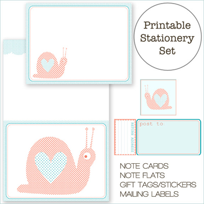 Creature Comforts Snail Stationery