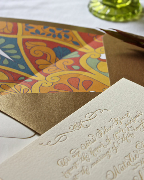 Danae Calligraphy Southwest Letterpress Wedding Invitations