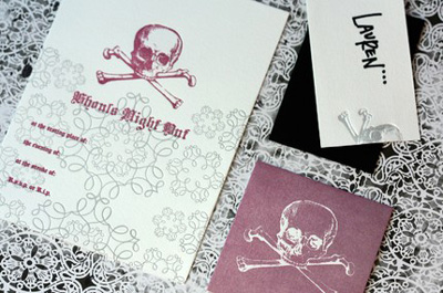 Dingbat Letterpress Halloween Invitations