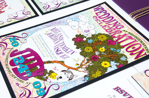 Grateful Dead + Enchanted Forest Wedding Invitations