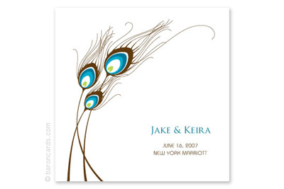 Baron Cards Peacock Quills Wedding Invitations