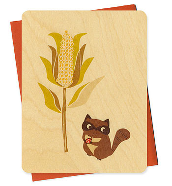 Night Owl Paper Goods Corny Raccoon Card