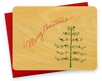Night Owl Paper Goods Wooden Holiday Cards