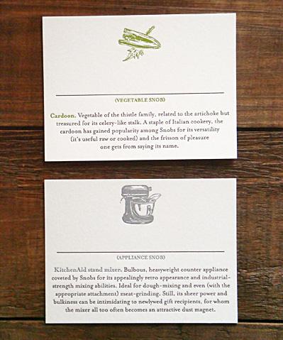 Letterpress Food Snob Place Cards