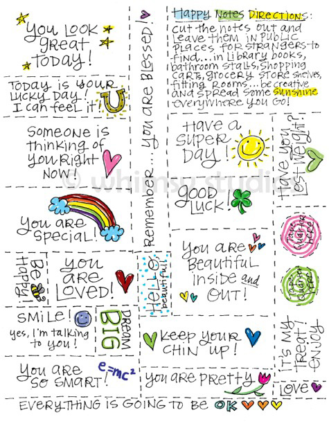 Lori McDonough Free Printable Happy Notes