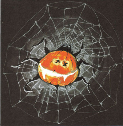 Pumpkin Spider Halloween Card