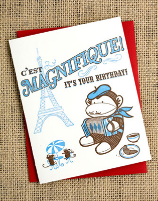 Sock Monkey Letterpress Cards
