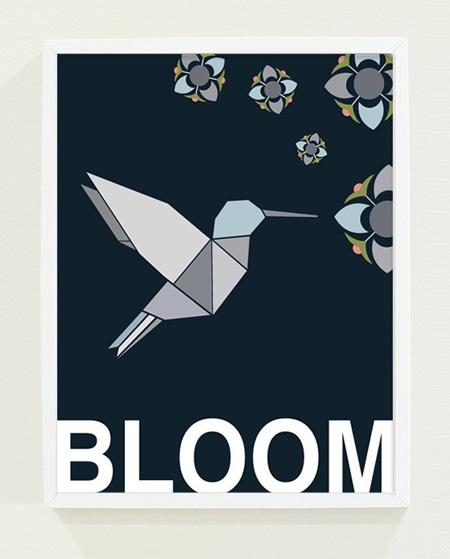 Origami Hummingbird Poster