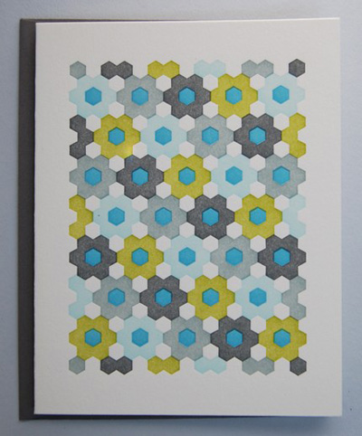 Krank Press Letterpress Hexagonal Card