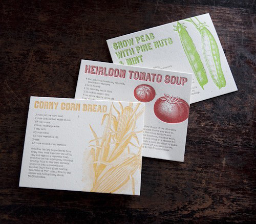 Letterpress Recipe Cards