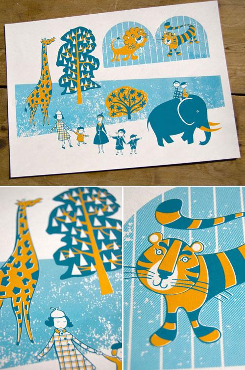 Zoo Screen Print by Joanna Howell