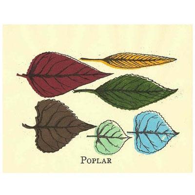Poplar Leaves Gocco Print
