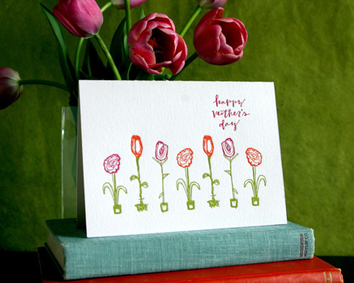 Spring Olive Letterpress Mother's Day Card