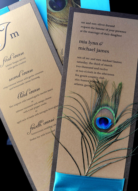 Meant to be Sent Peacock Wedding Invitations