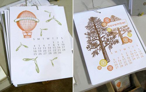 Pearl & Marmalade 2011 Letterpress Calendar