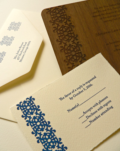 Oslo Press Burst Wood and Paper Invitations