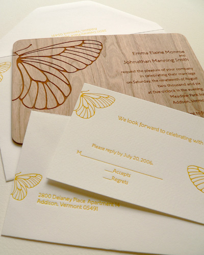 Oslo Press Butterfly Wood and Paper Invitations