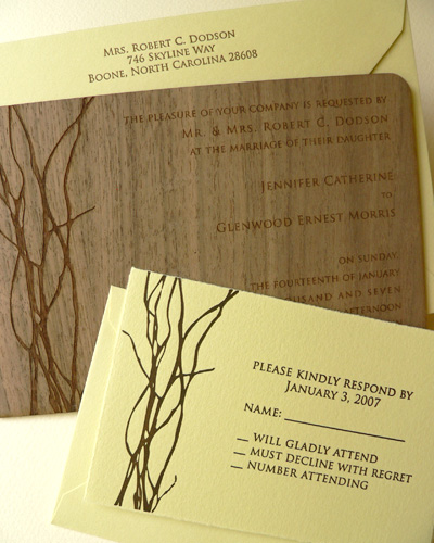 Oslo Press Willow Wood and Paper Invitations