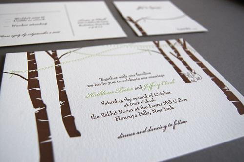 Bunny Bunting Letterpress Wedding Invitations