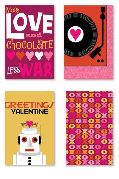 Rock Scissor Paper Valentine's Day Cards