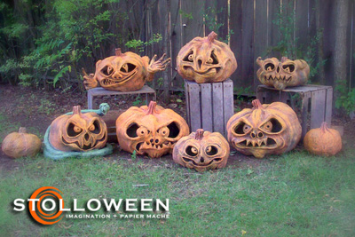 Stolloween Papier Mache Pumpkins. Holy awesome Halloween decoration!