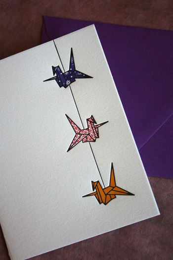 Twin Ravens Letterpress Crane Cards