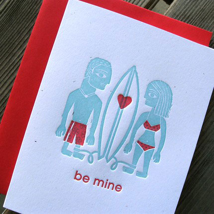 Byvik Ink Surfer Love Letterpress Cards