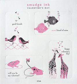 Smudge Ink Mini Letterpress Valentines