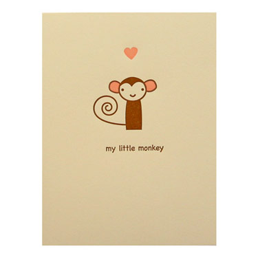 Two Piglets Little Monkey Card