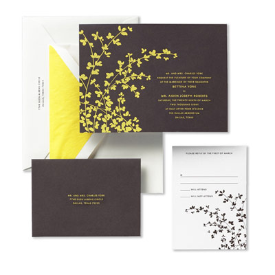 Kate Spade Engraved Garden Bough Wedding Invitations