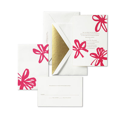 Kate Spade Brush Stroke Floral Wedding Invitations