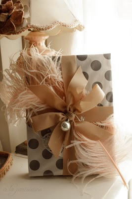 Polka Dot and Feather Gift Wrap